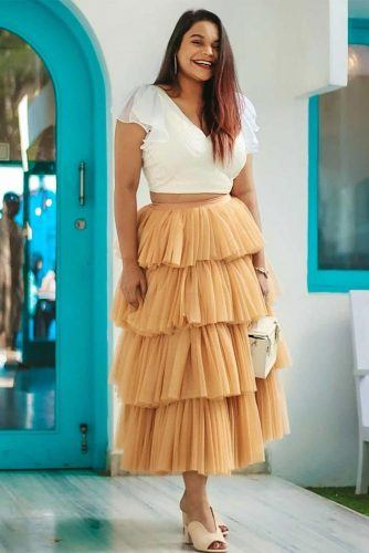 Layered Maxi Skirt With Top Outfit #whitetop
