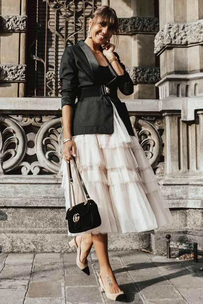 What Is A Tulle Skirt #blazer #blushskirt