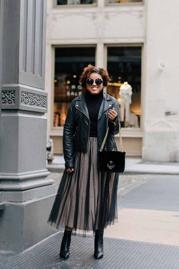 Tulle Skirt Outfits With Leather Jacket