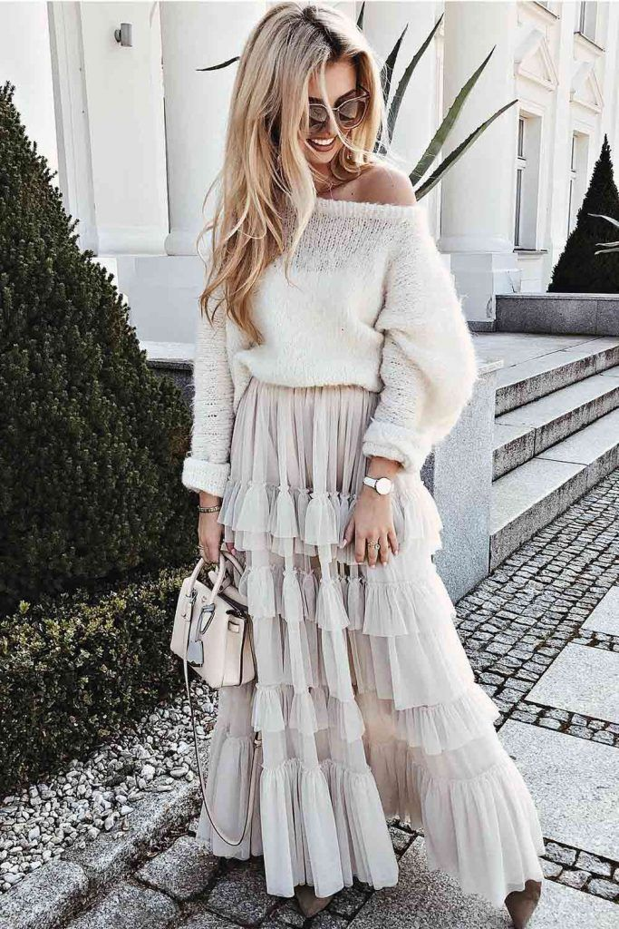 Tutu Skirt With One Shoulder Sweater