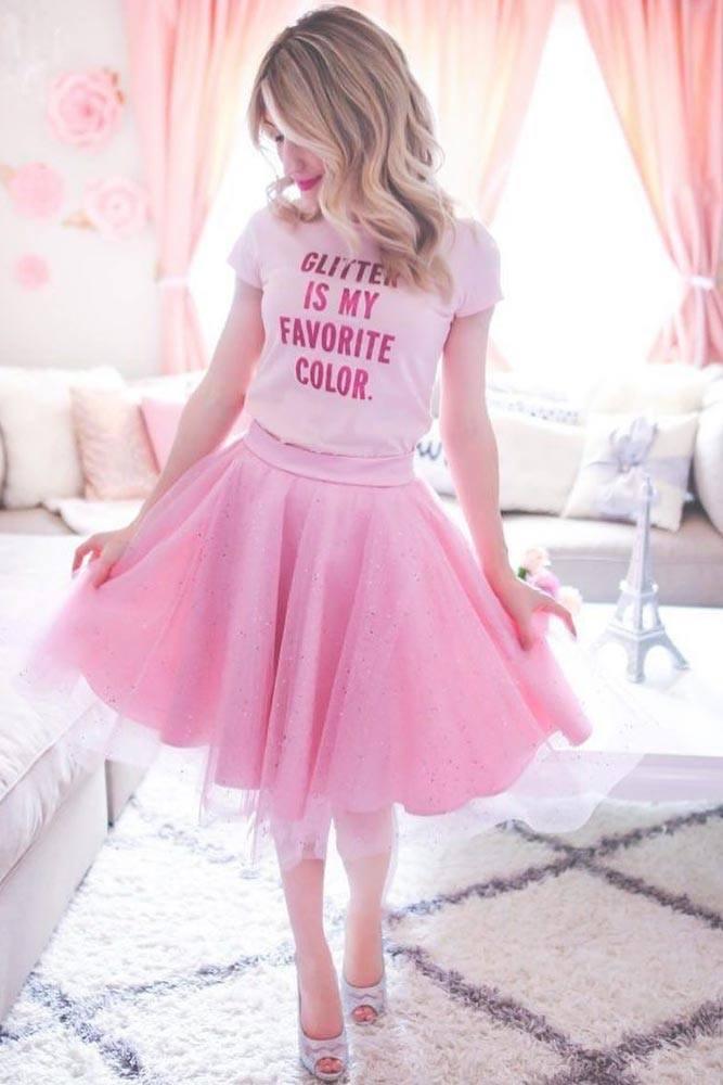 Pink Glitter Tulle Skirt With T-shirt #pinkskirt #tshirt