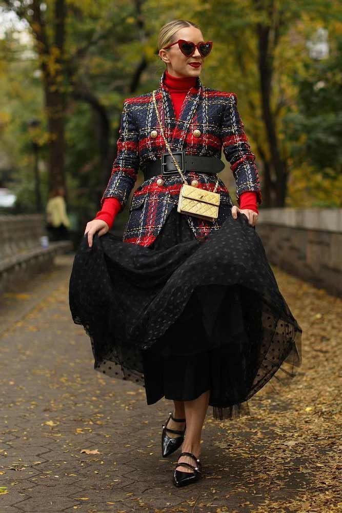 Black Tulle Skirt With Plaid Jacket Outfit #printjacket