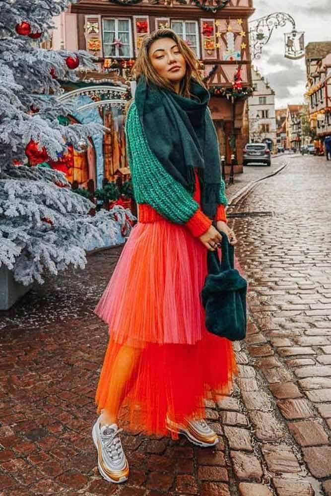 Holiday Look With Layered Skirt #layeredskirt