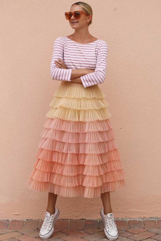 Striped Top With Layered Skirt #stripedtop