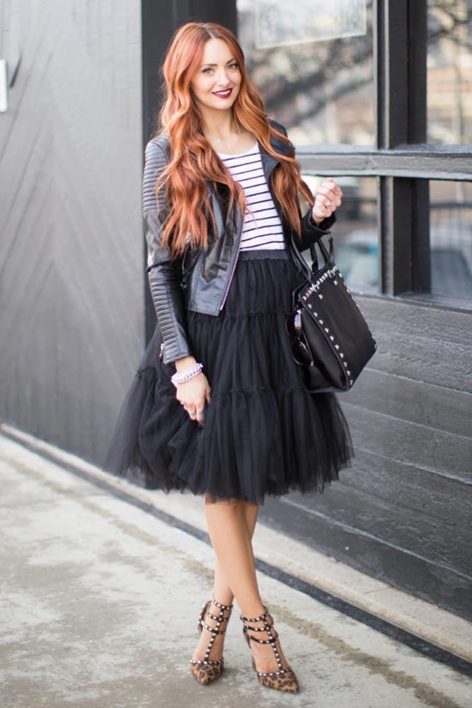 Skirt With Motor Jacket #motorjacket