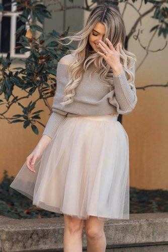 Tulle Skirt With Sweater Outfit #shoulderoffsweater #sweater