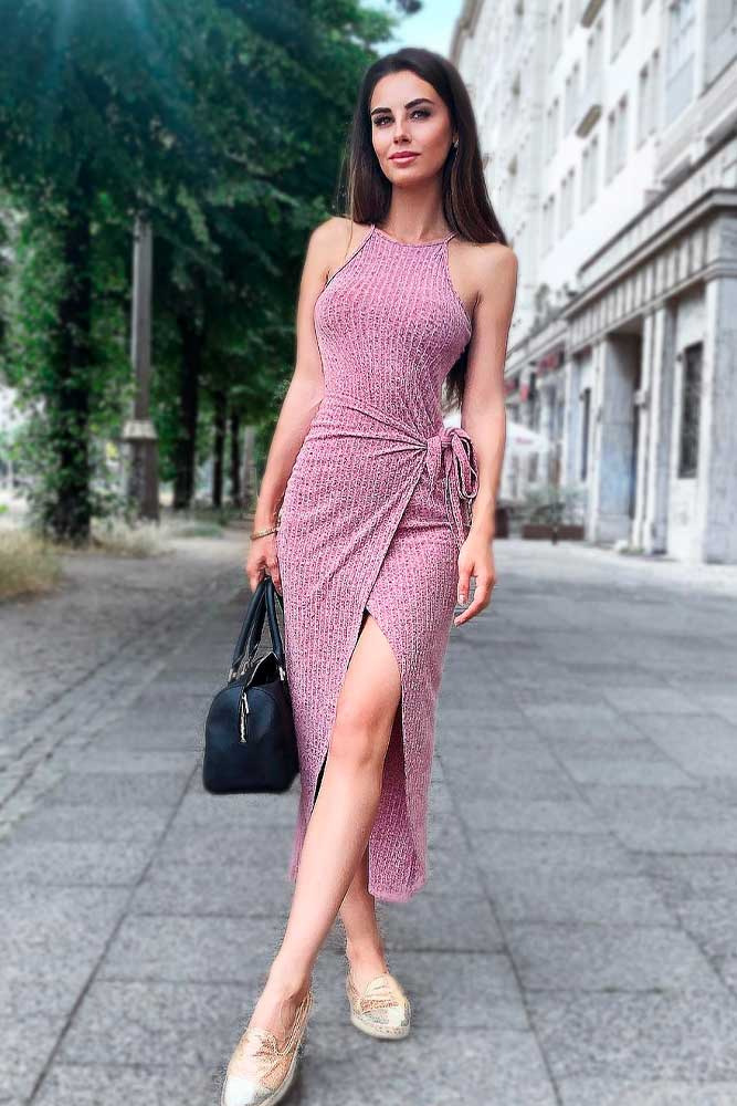 Wrap Halter Dress #pinkdress #wraphalterdress