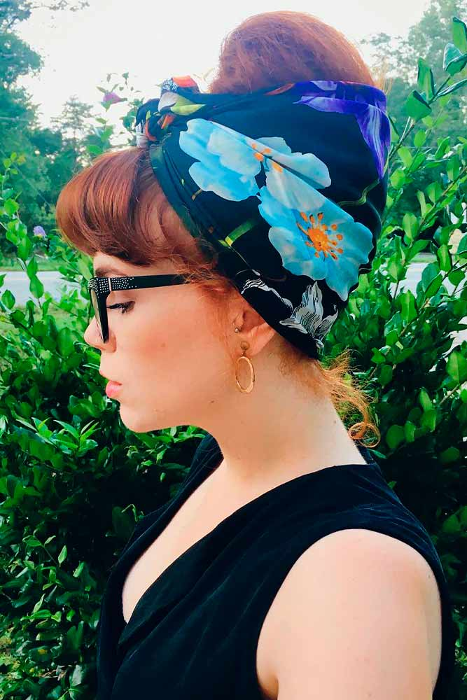 Retro Updo With Scarf #beehiveupdo #hairdo