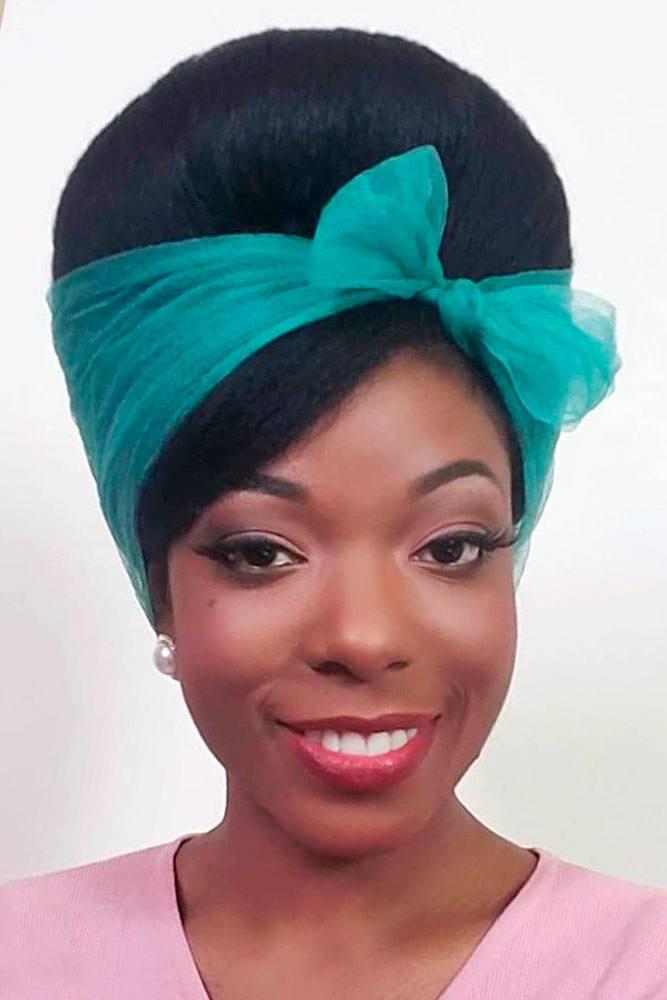 Black Updo With Scarf #hairscarf #vintagehair