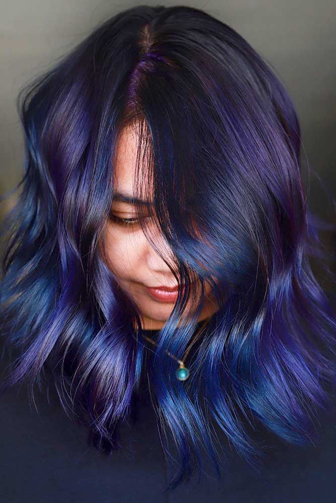 Blue And Purple Highlights for Bleck Hair #highlights #purplehighlights