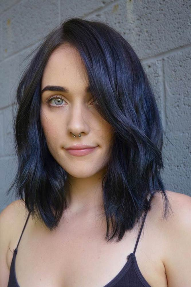 Blue Black Layered Lob #hairstyles #haircuts