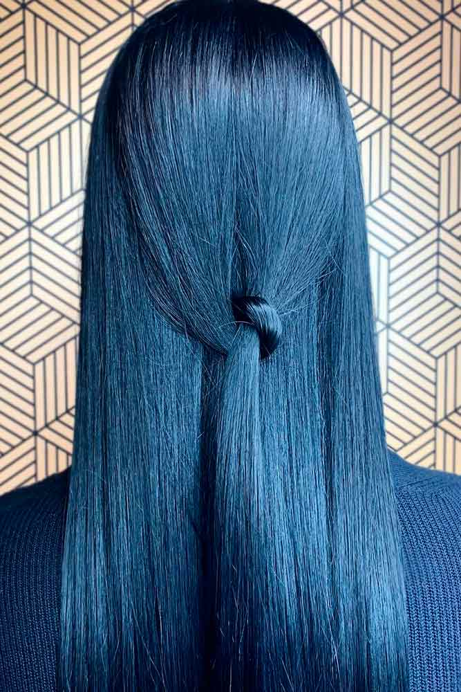 Is Blue Black A Natural Hair Color? #straighthair #glossyhair
