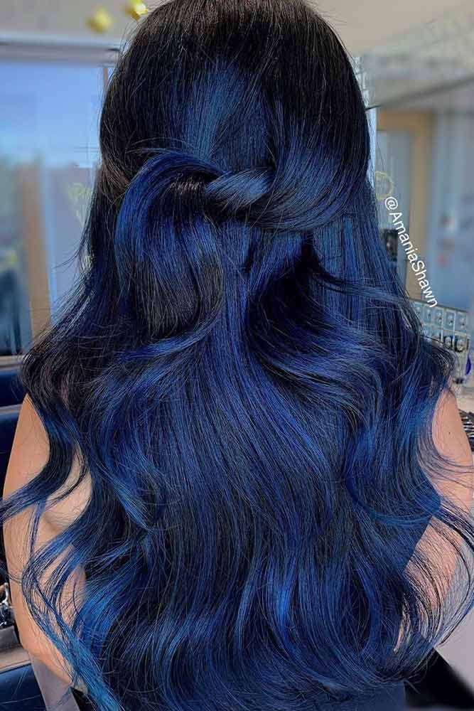 Shiny Blu Black Hair #shinyhair #healthyhair