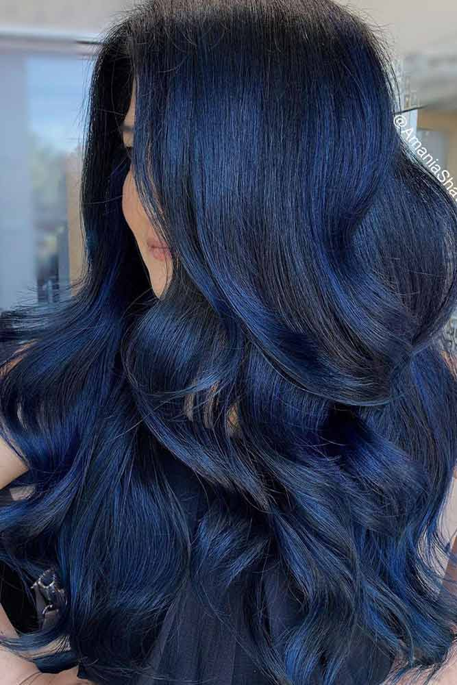 Layered Blue Black Hairstyle #blackhaircolor #chichaircolor