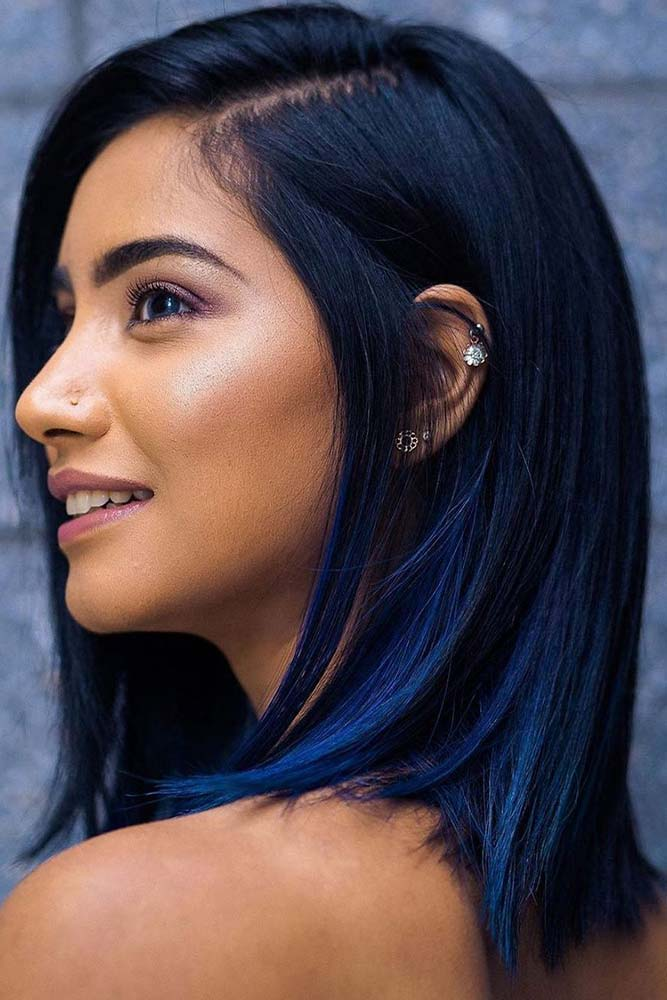 What Is Blue Black Hair Color? #mediumhair #sleekhair