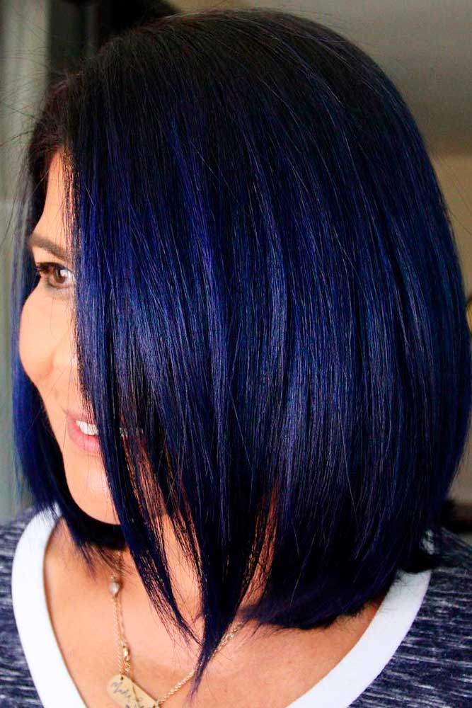 Deep Blue Hair color for Straight Hair #deepbluehair #sleekbob
