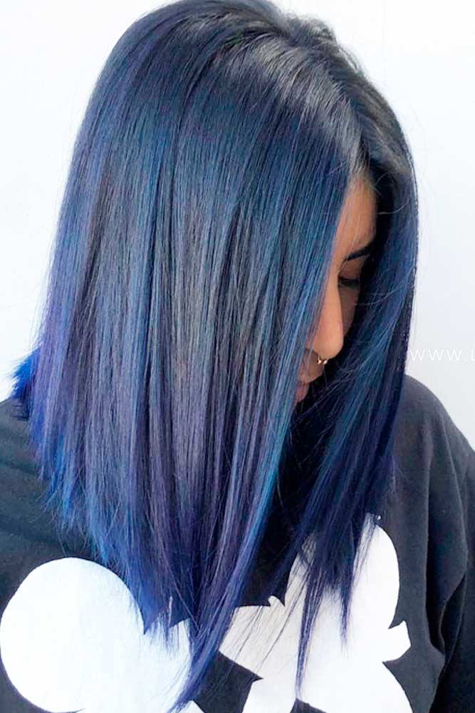 Blue Black Lob For Straight Hair #bobhairstyles #mediumhairstyles