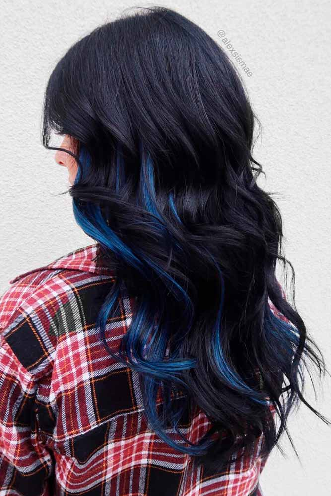 LOng LAyered Black Hair With Blue Highlgihts #stylishhairstyle #layeredhairstyle