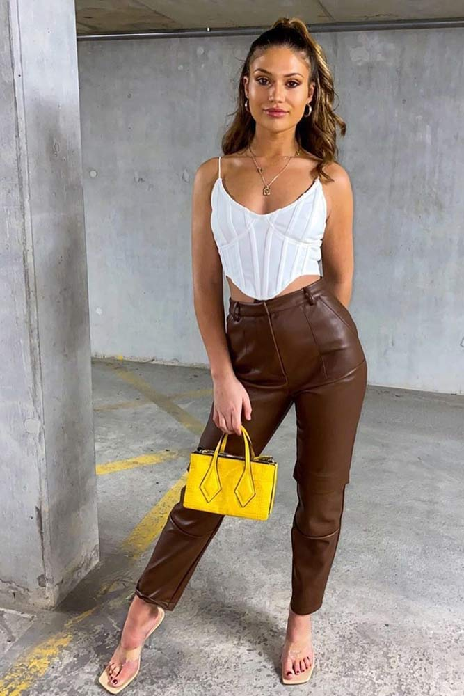 White High Bust Point Top And Leather Cargo Trousers #whitetop #cargopants