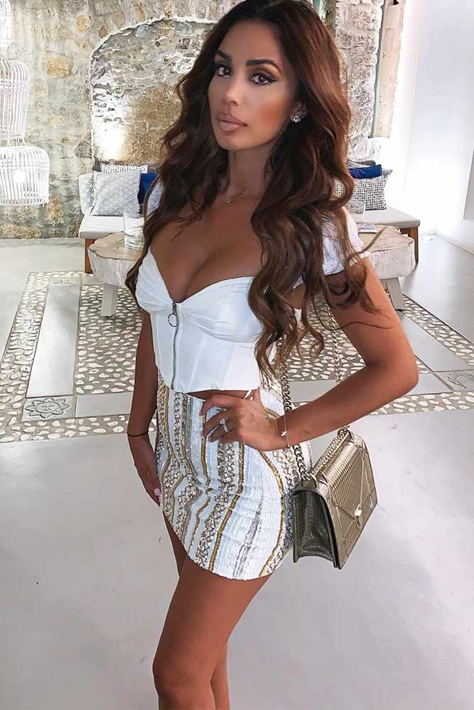 White Top With Print Mini Skirt #miniskirt