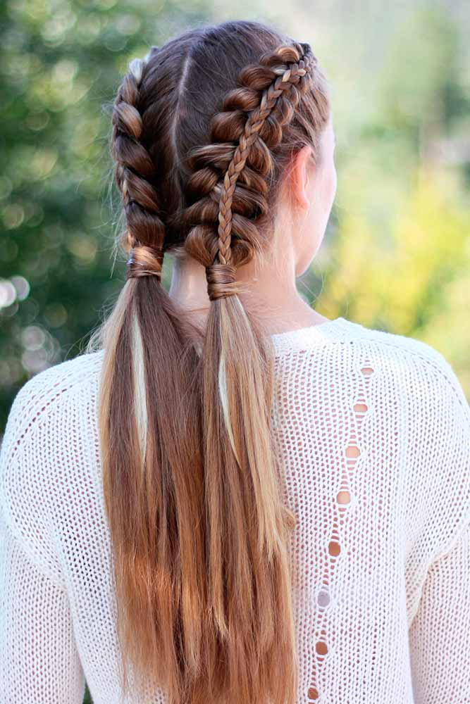 Do Pigtails Have To Be Braided? #braids #doubleponytails
