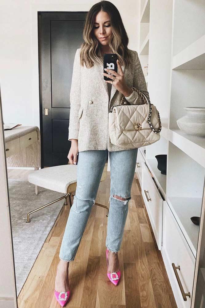 Classy Beige Blazer With Light Blue Jeans #rippedjeans #lightbluejeans