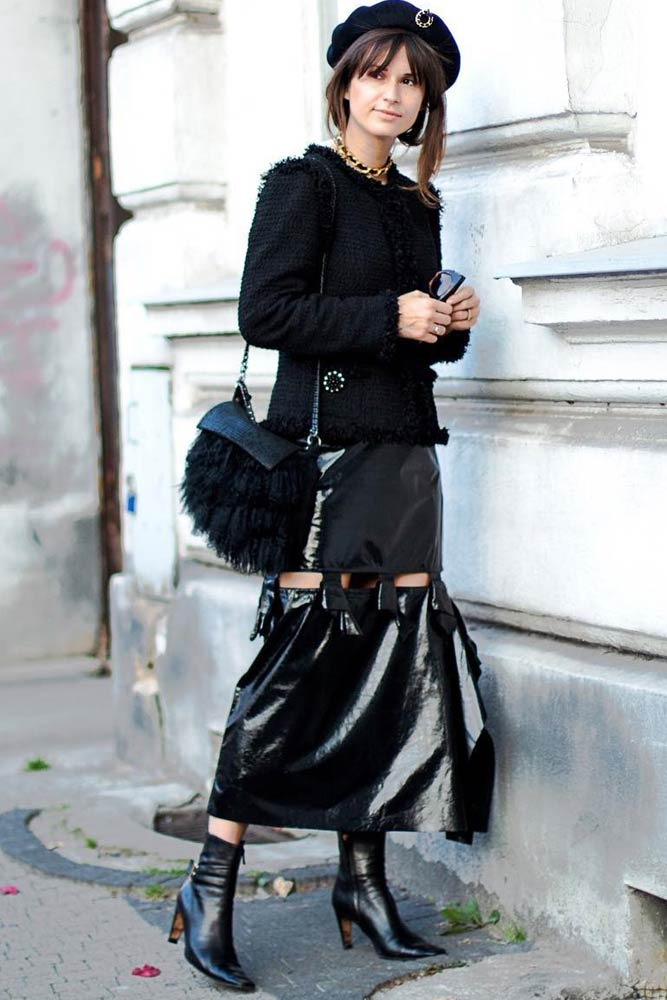Monochromatic Outfit With Tweed Jacket And Beret #beret #skirt