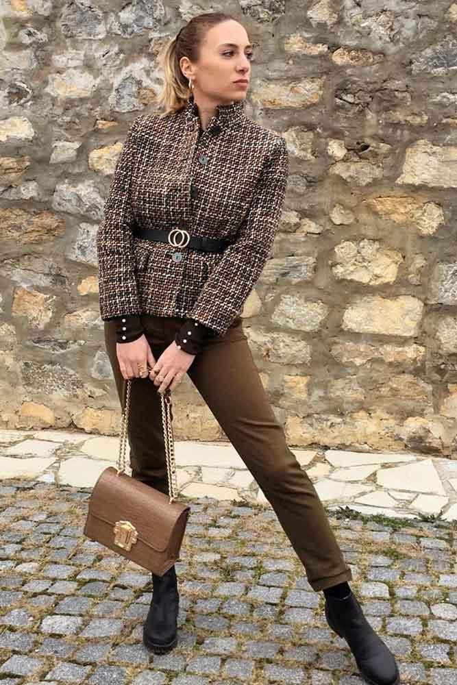 Brown Tweed Blazer With Pants Outfit #pants