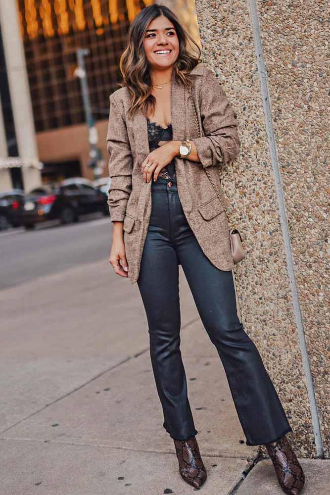 Tweed Beige Jacket With Flare Jeans #flarejeans