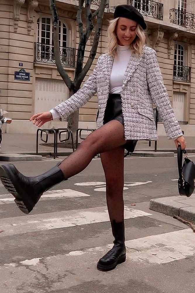 Tweed Jacket With Faux Leather Skirt #blackskirt #beret
