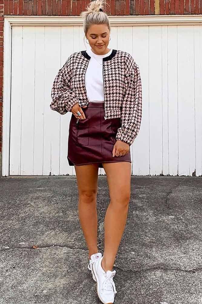 Cropped Tweed Jacket With Faux Leather Skirt #fauxleatherskirt #croppedjacket