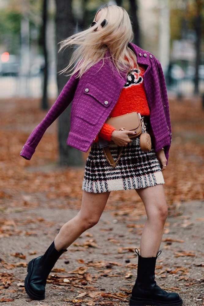 Chanel Jacket With Mini Skirt Outfit #chaneljacket #purplejacket