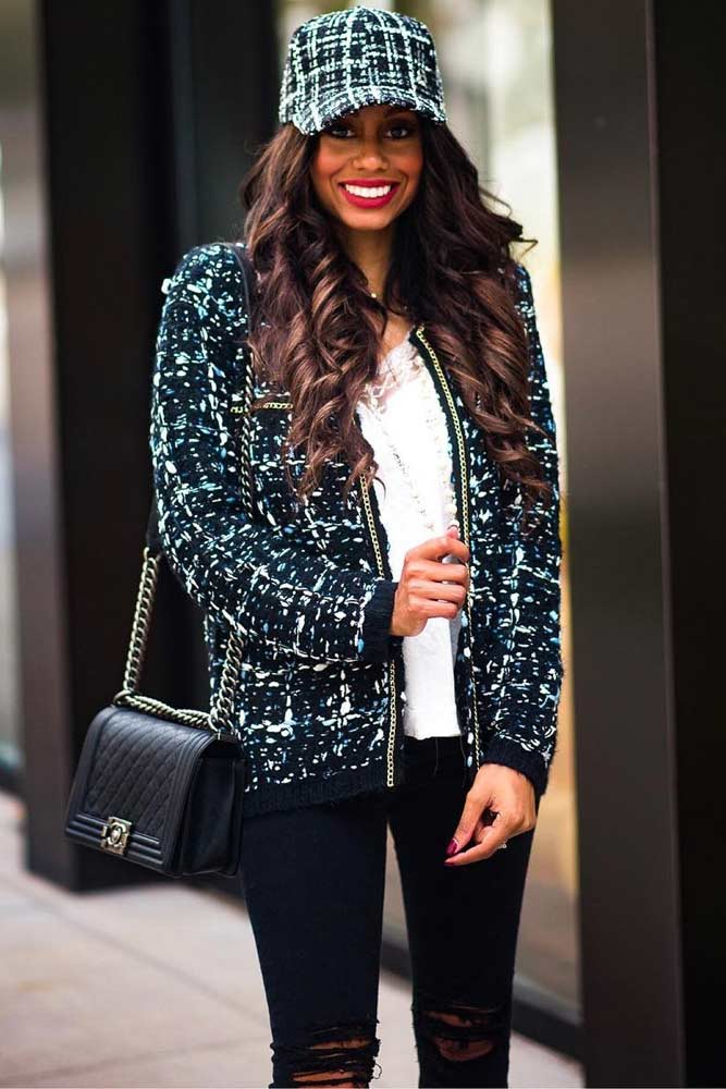 Tweed Bomber Jacket With Ripped Jeans #rippedjeans #cap
