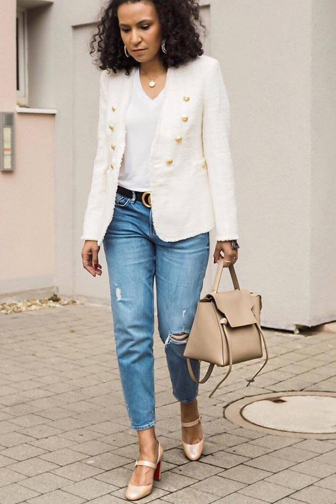 Are Tweed Jackets Fashionable? #whiteblazer #jeans