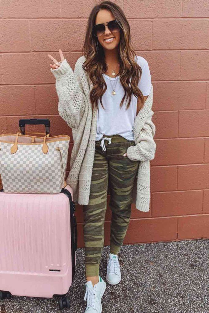 Pants With Knitted Cardigan #cardigan