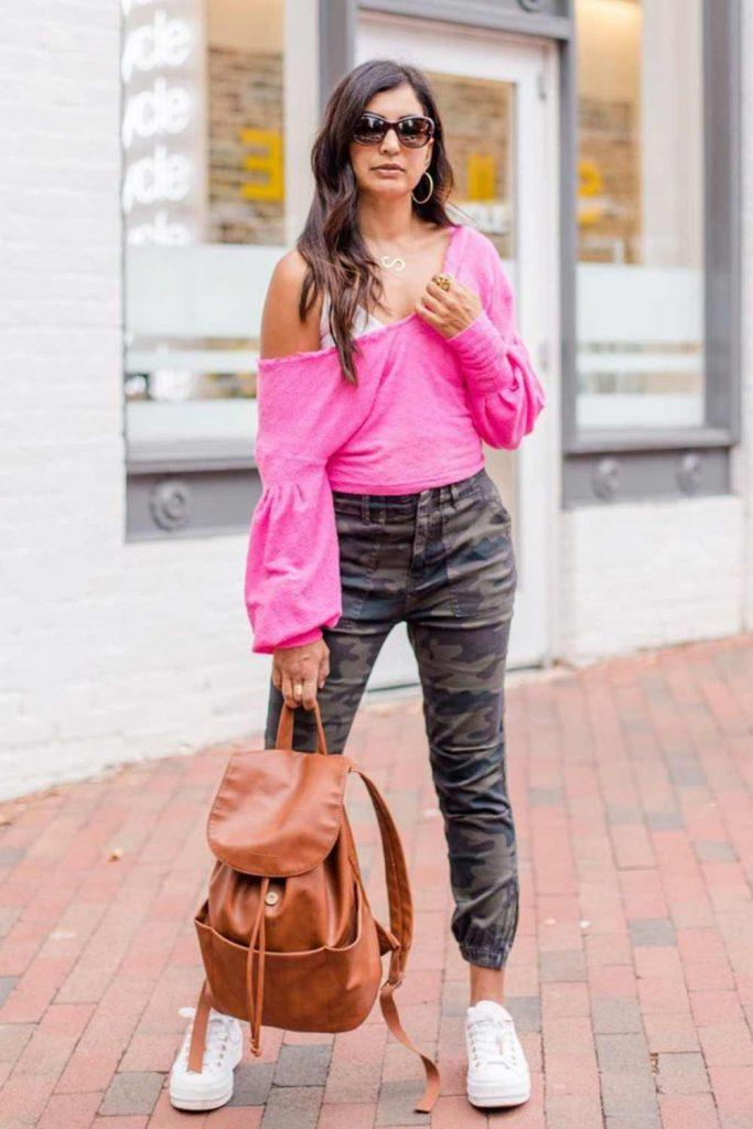 Pink Asymmetric Top With Joggers Pants #pinktop