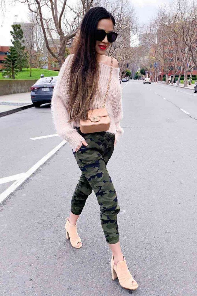 Knitted Sweater With Camo Pants #knittedsweater