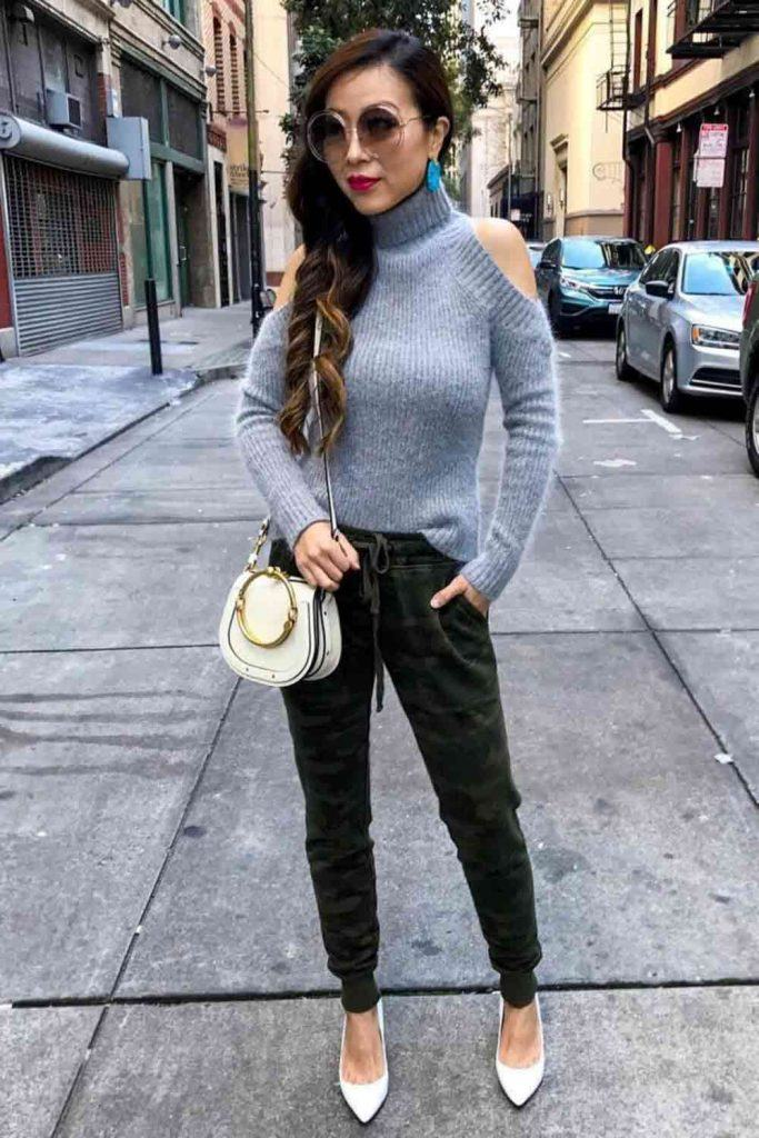 Shoulder Opened Sweater With Pants Outfit #pumps #sweater
