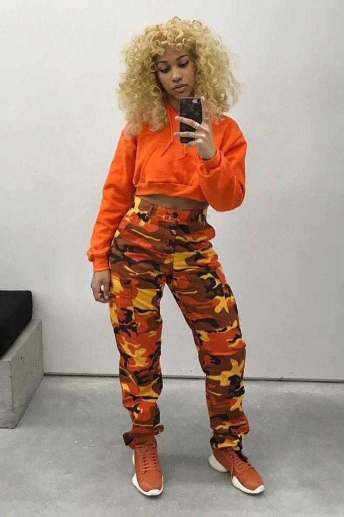 Orange Camo Pants Outfit #orangepants