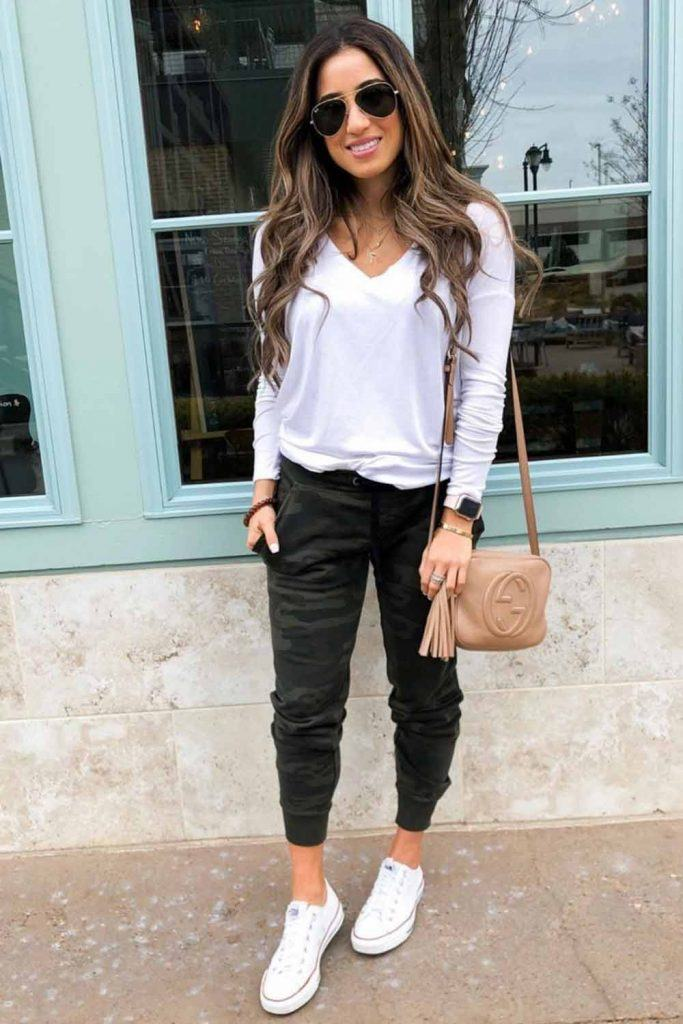 White Top With Joggers Pants #joggers #whitetop