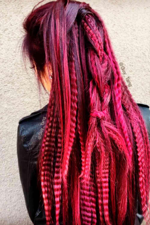 Long Burgundy Hair #burgundyhairstyle #burgundyombrehair