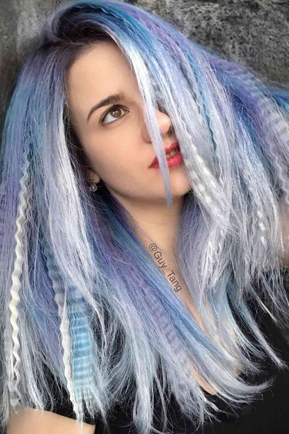 Do Crimpers Damage Your Hair? #bluehait #layeredhairstyle