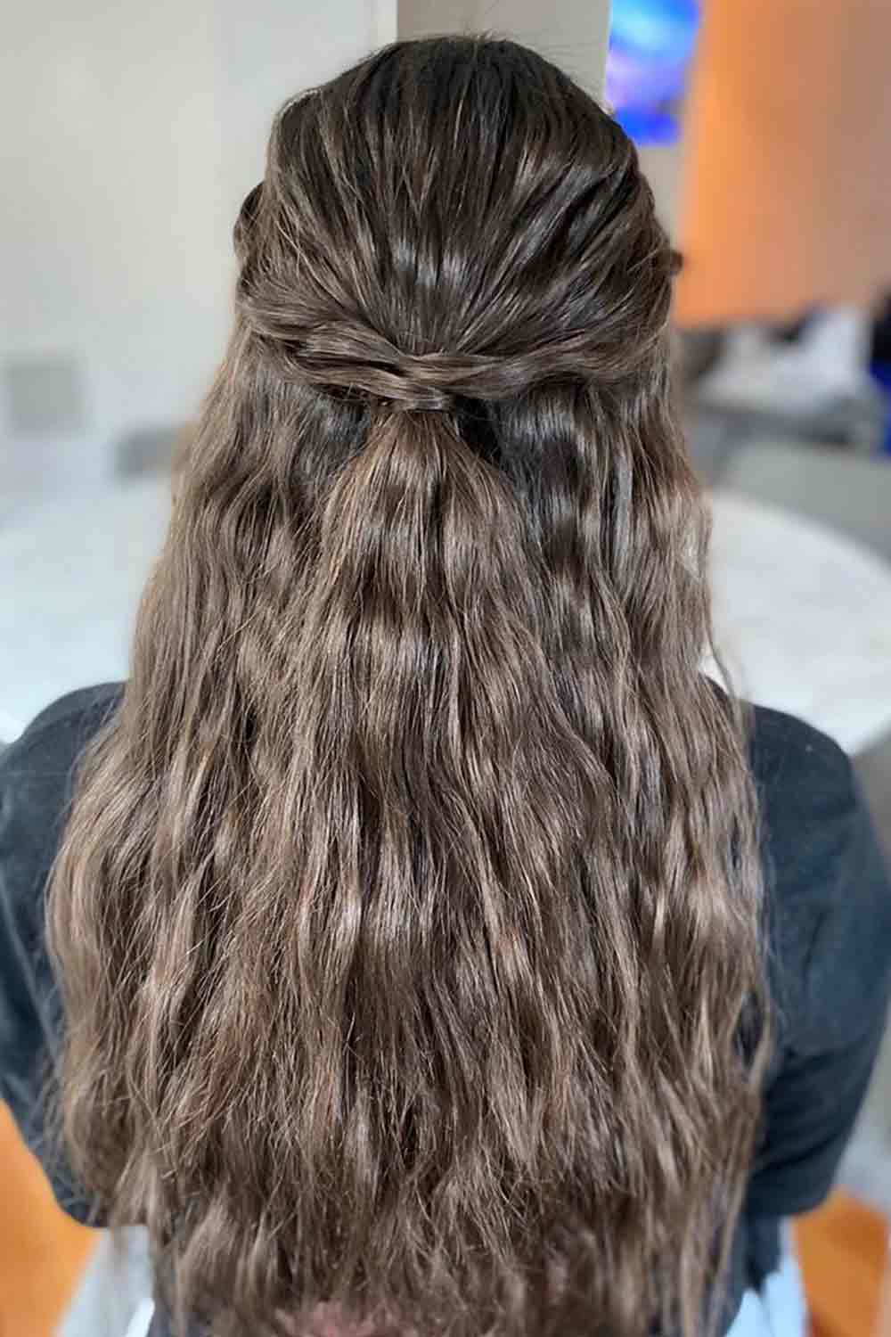 Crimped Hair With Twist #twistedhair #brownhair