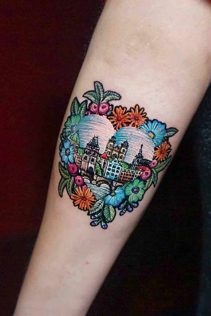Landscape Embroidery Tattoo