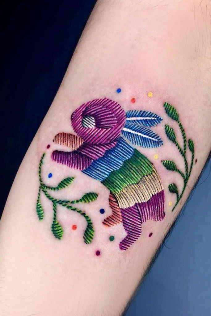 Embroidery Tattoo Design With Rabbit