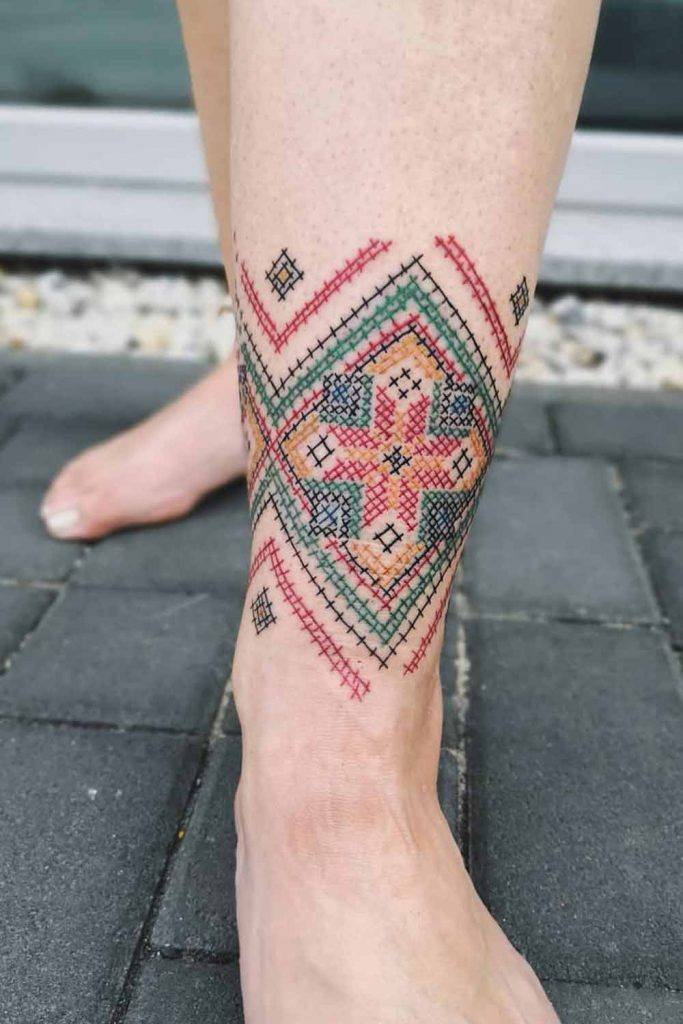 Embroidered Leg Tattoo Design