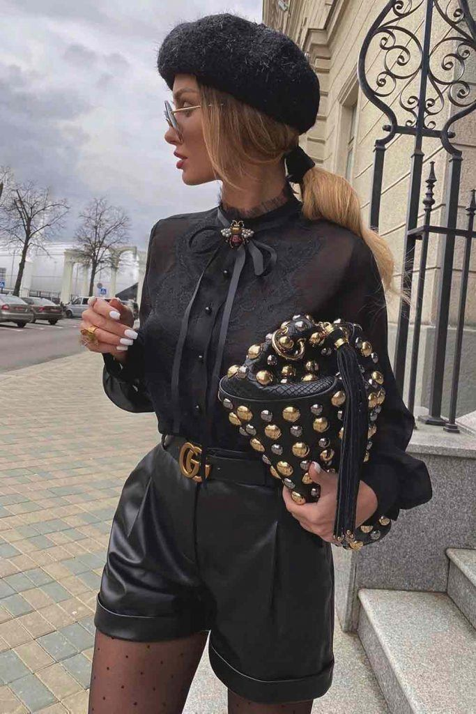 Black Outfit With Leather Shorts And Lace Blouse #blackblouse