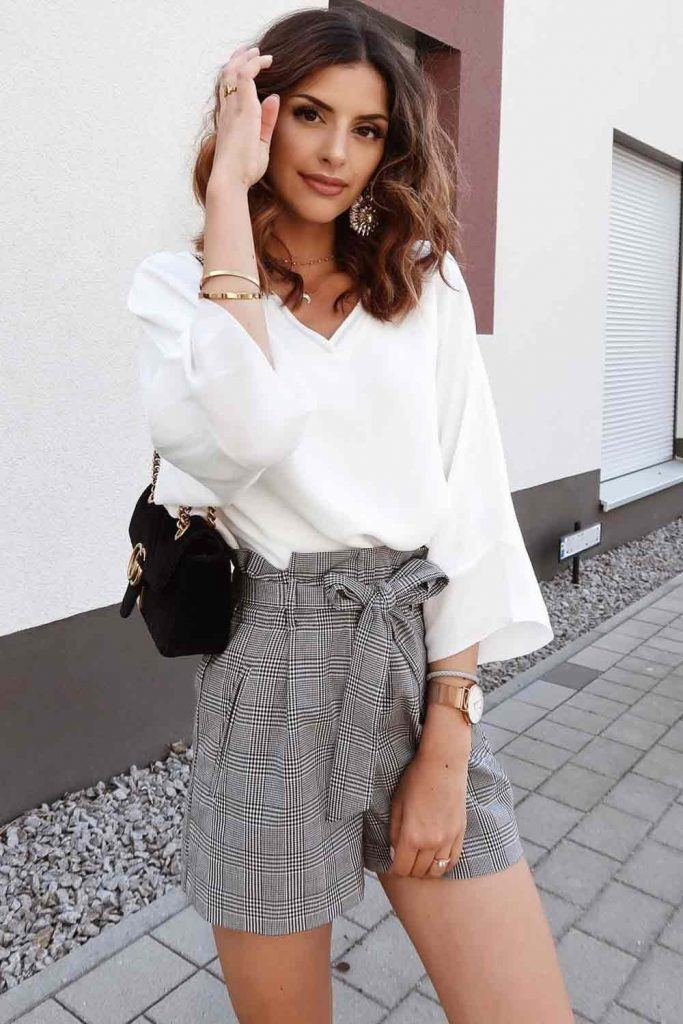 White Blouse With Plaid Shorts #plaidshorts