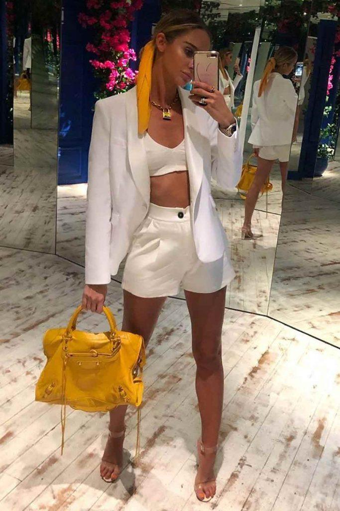 All White Outfit With Short #allwhiteoutfit