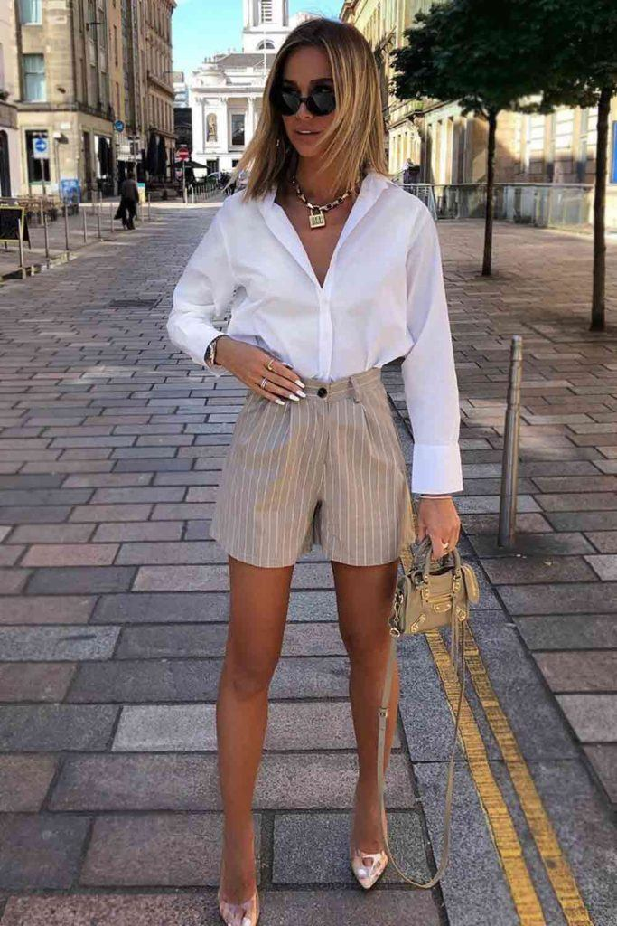 Striped Shorts With White Shirt #whiteshirt